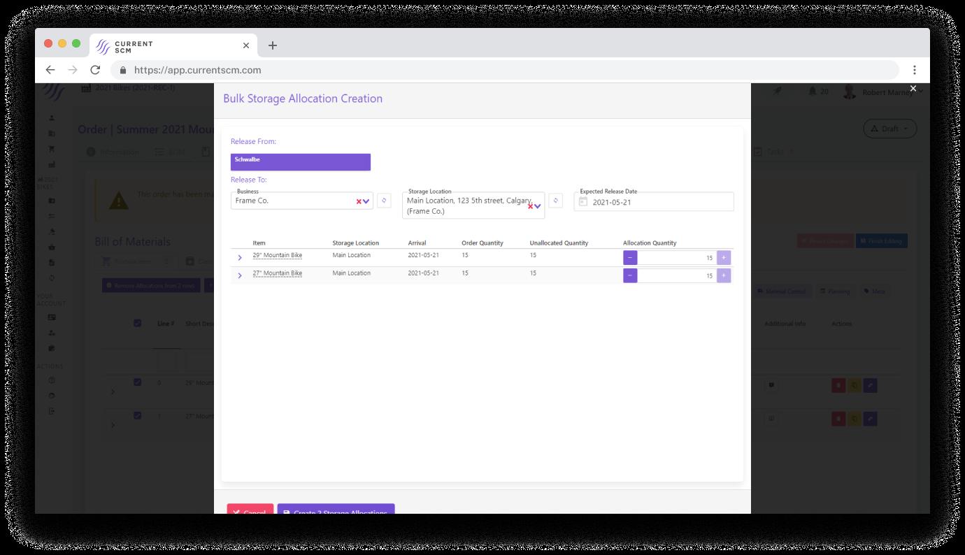 screenshot of allocation of materials options