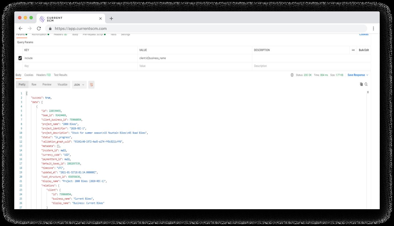 screenshot of api access