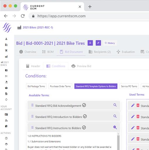 screenshot of bid development