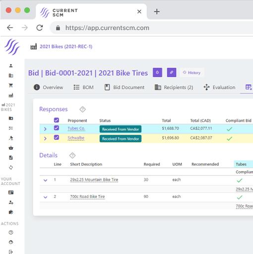 screenshot of bid evaluation