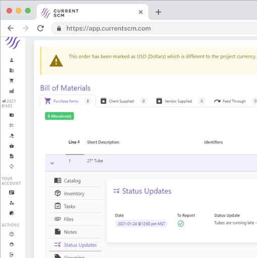 screenshot of expediting materials