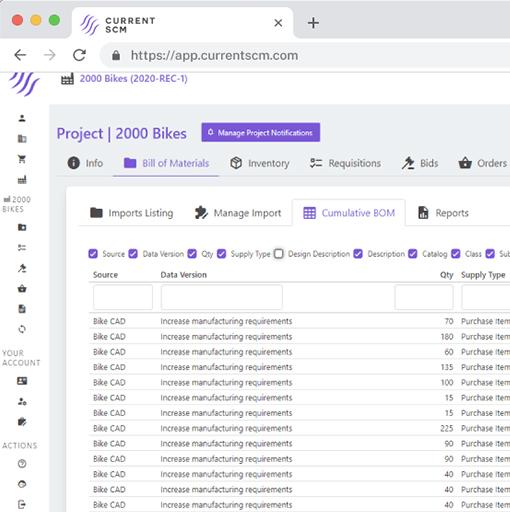 screenshot of inventory tracking dashboard