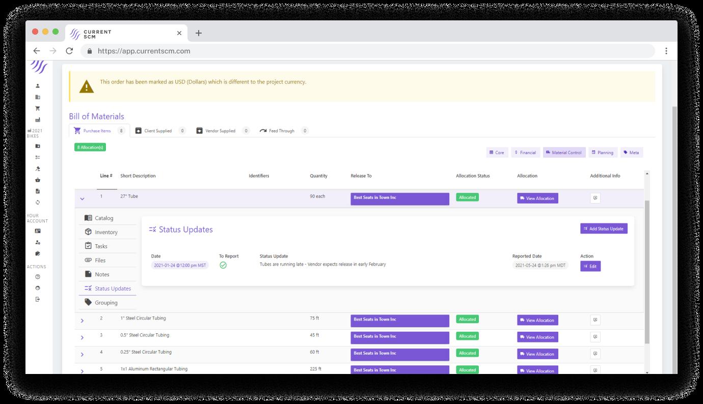 screenshot of materials management dashboard