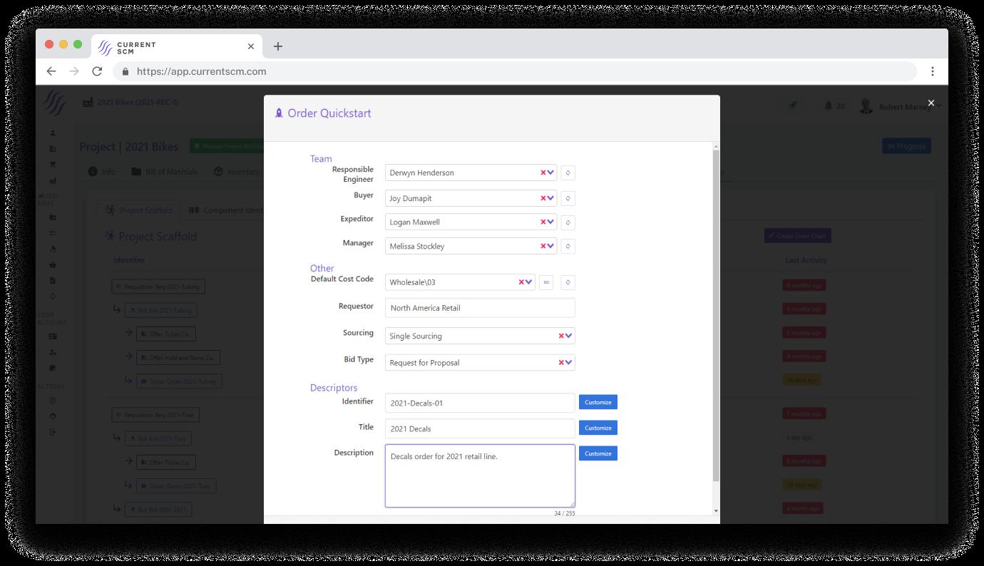 screenshot of order quickstart