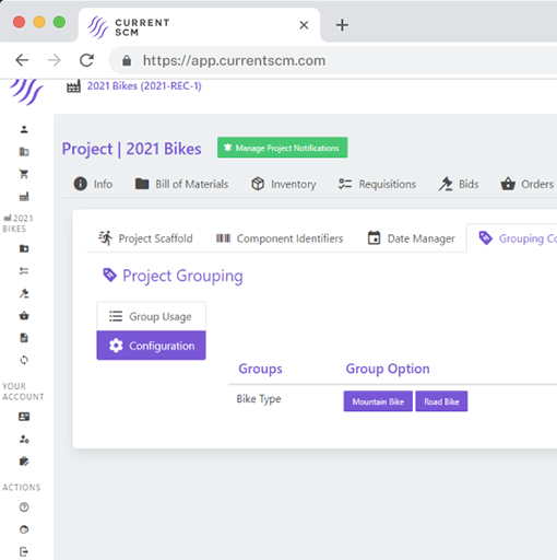 screenshot of project groupings