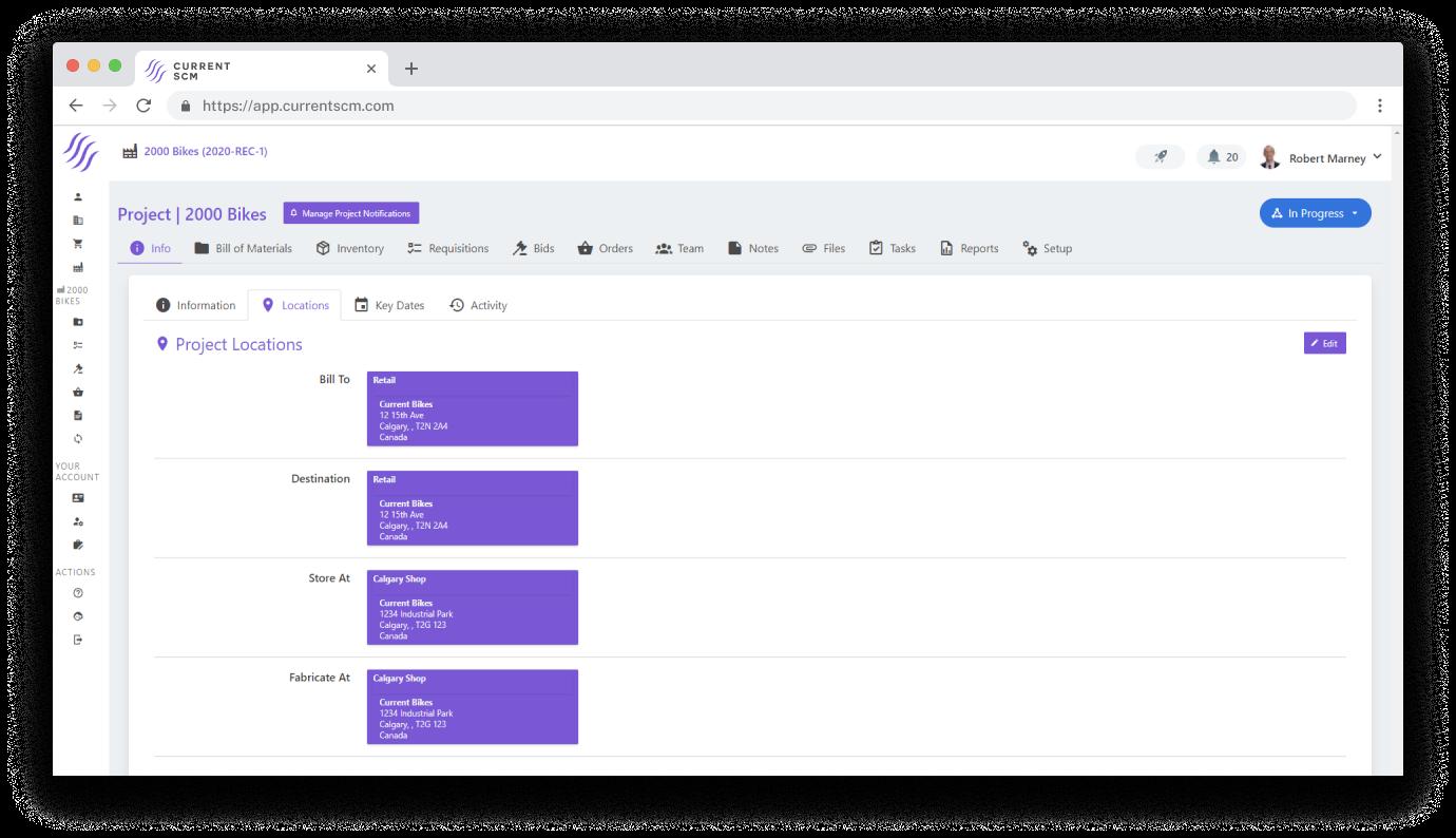 screenshot of project management dashboard