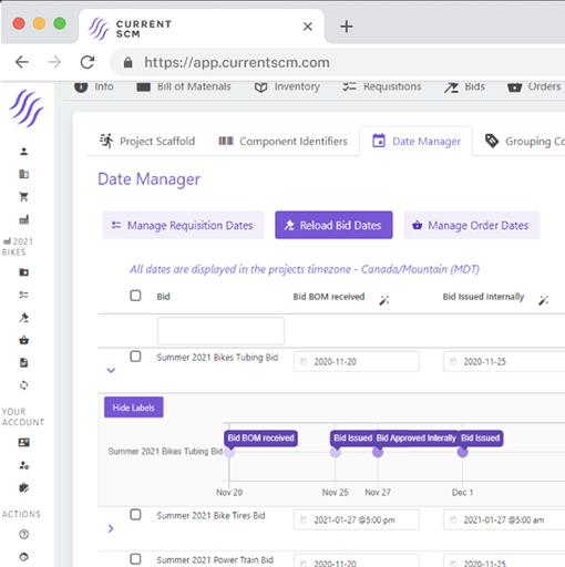 screenshot of project templates