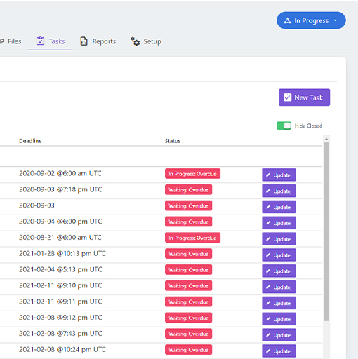 screenshot of task management