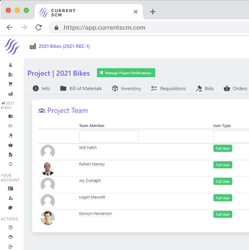 screenshot of users and roles