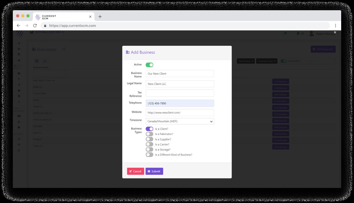 screenshot of vendor management