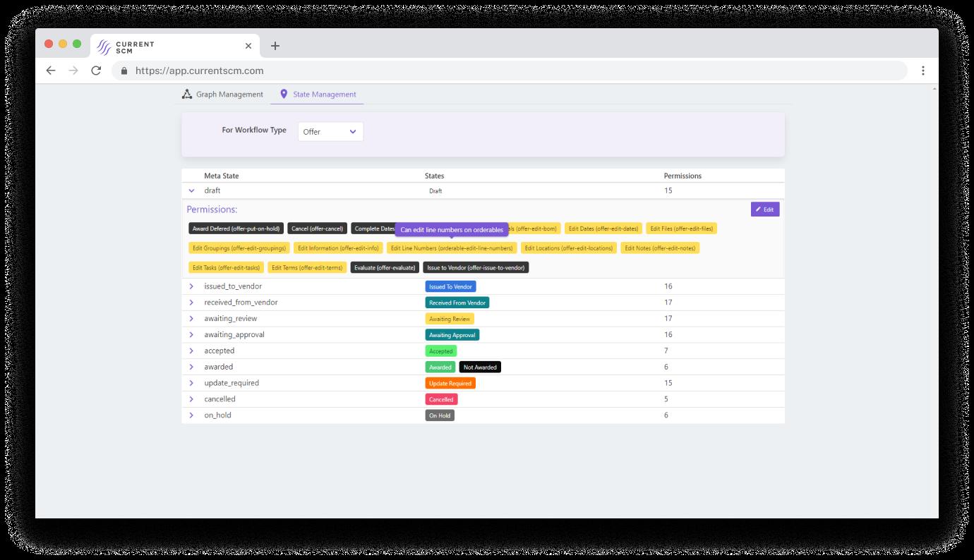 screenshot of workflow management